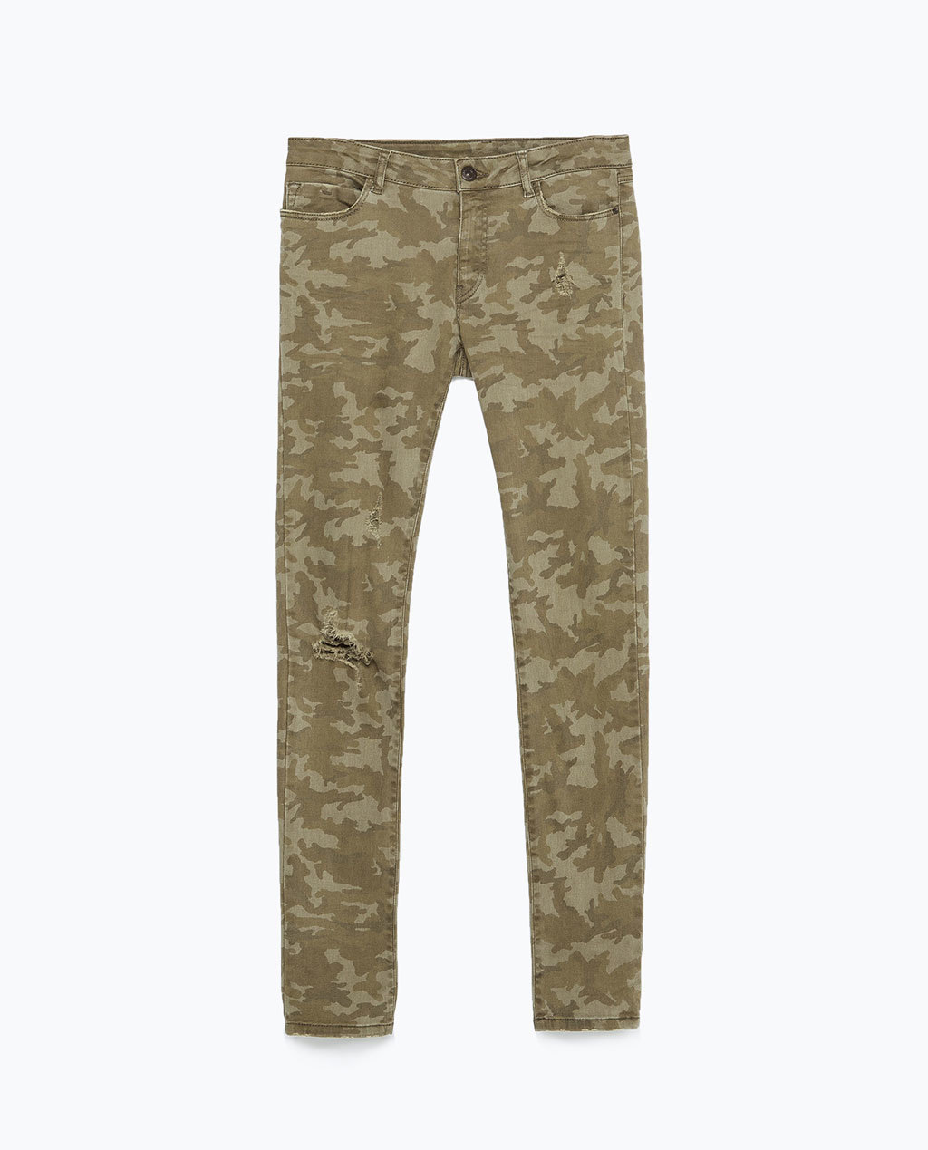 Camouflage Trousers - length: standard; pocket detail: traditional 5 pocket; waist: mid/regular rise; predominant colour: khaki; occasions: casual, creative work; fibres: cotton - stretch; fit: skinny/tight leg; pattern type: fabric; pattern: patterned/print; texture group: woven light midweight; style: standard; season: s/s 2015; pattern size: standard (bottom); wardrobe: highlight