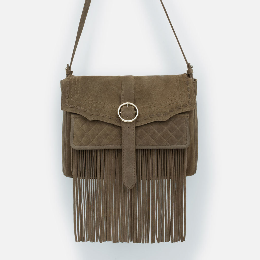 Leather Messenger Bag With Fringes - predominant colour: tan; occasions: casual, creative work; style: messenger; length: across body/long; size: standard; material: leather; embellishment: fringing; pattern: plain; finish: plain; trends: seventies retro; season: s/s 2015; wardrobe: highlight