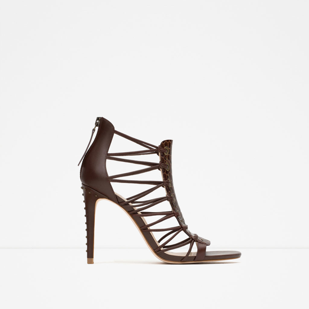 Leather High Heel Sandal - predominant colour: chocolate brown; occasions: evening, occasion; material: leather; heel: stiletto; toe: open toe/peeptoe; style: strappy; finish: plain; pattern: plain; heel height: very high; season: s/s 2015; wardrobe: event