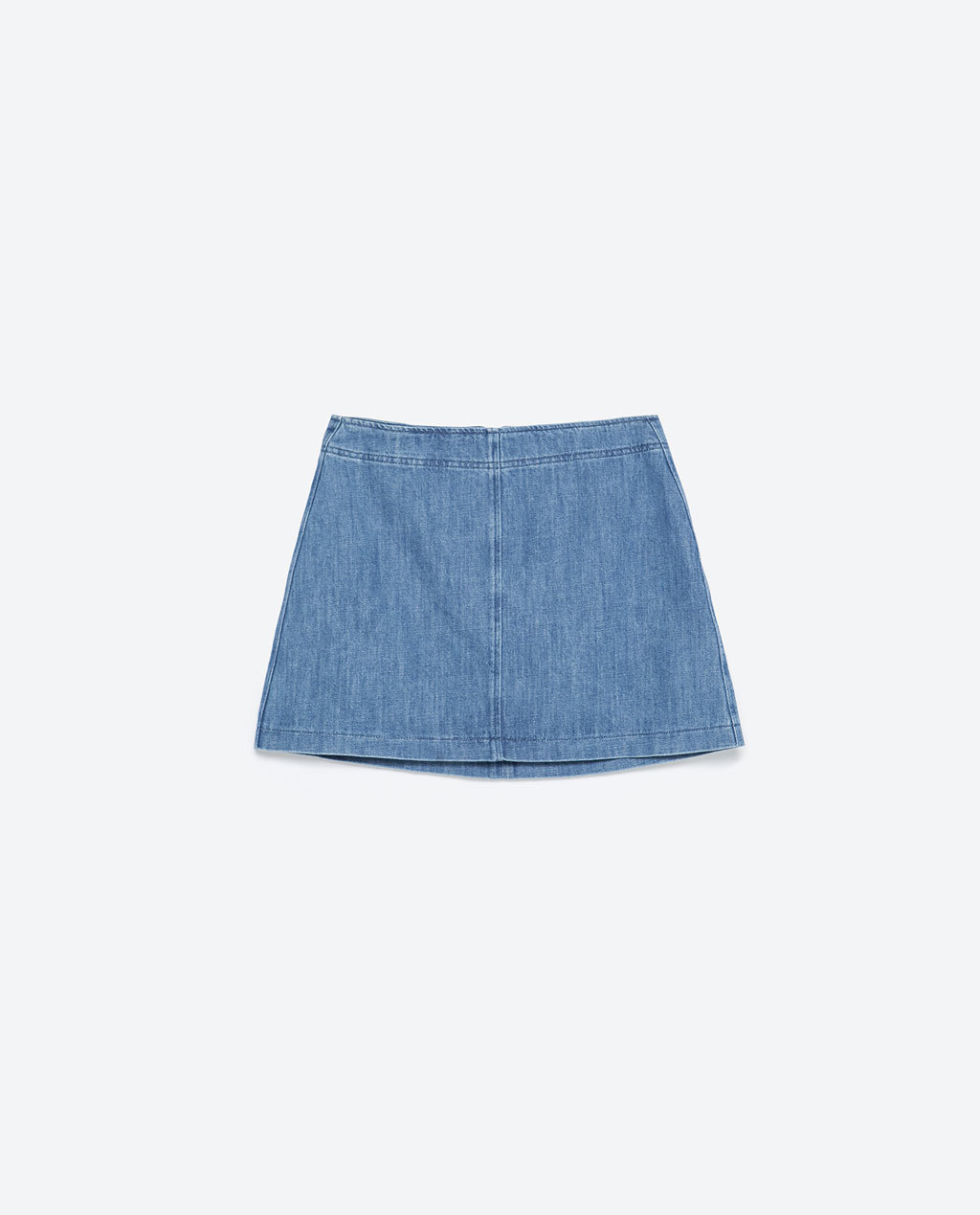 Denim Skirt - length: mini; pattern: plain; waist: high rise; predominant colour: denim; occasions: casual, holiday; style: a-line; fibres: cotton - stretch; texture group: denim; fit: straight cut; pattern type: fabric; season: s/s 2015; wardrobe: basic