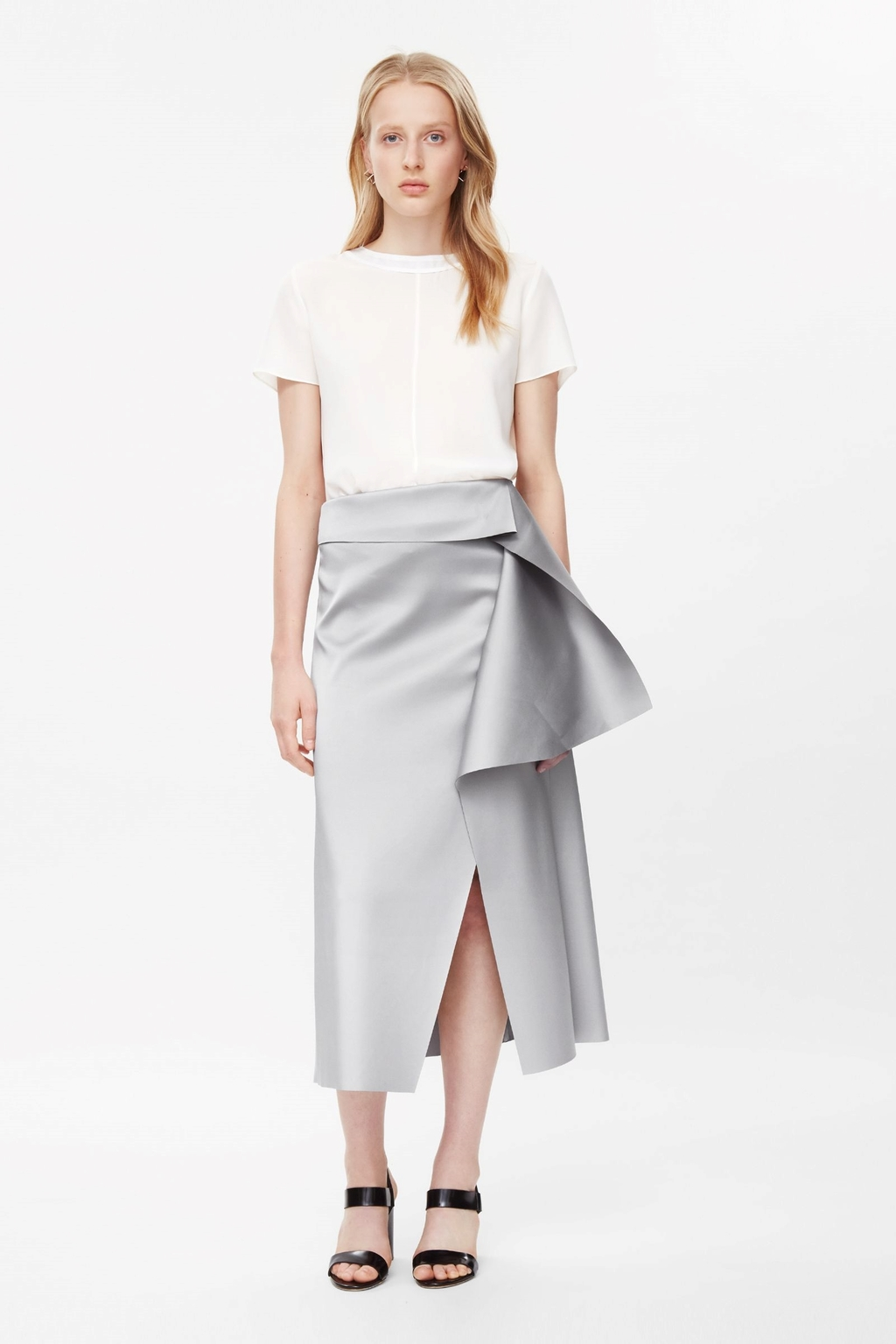 Raw Cut Draped Skirt - length: calf length; pattern: plain; style: wrap/faux wrap; fit: loose/voluminous; waist detail: wide waistband/cummerbund; waist: high rise; predominant colour: silver; occasions: evening, occasion; fibres: polyester/polyamide - stretch; hip detail: slits at hip; texture group: structured shiny - satin/tafetta/silk etc.; pattern type: fabric; season: s/s 2015