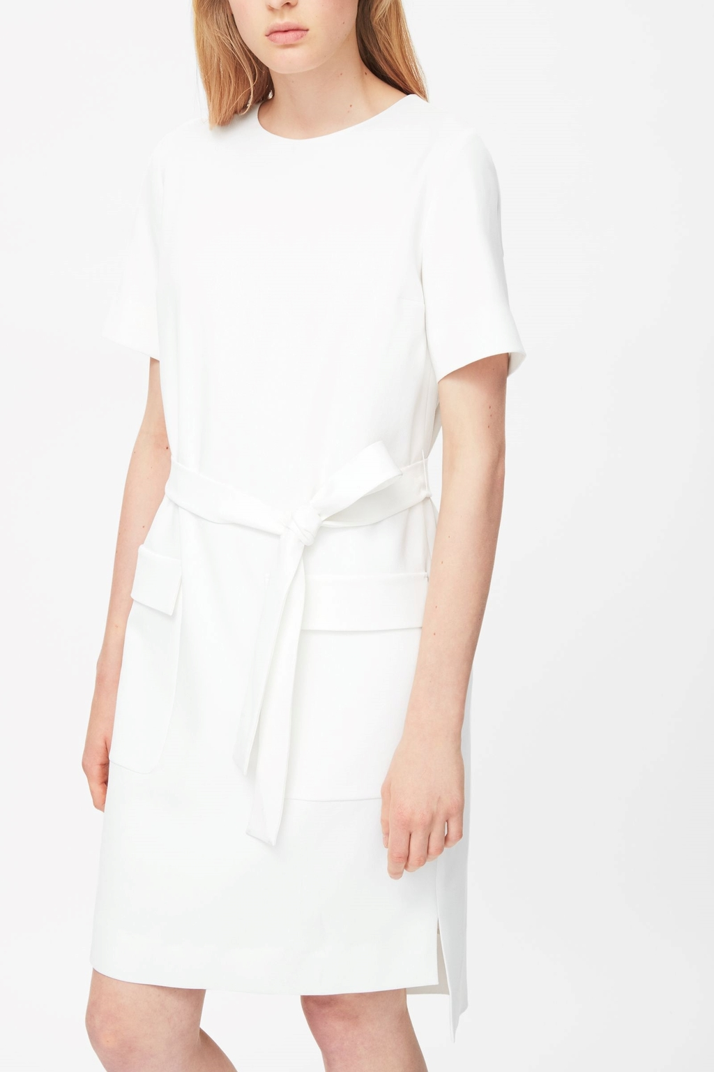 Belted Dress - style: shift; pattern: plain; predominant colour: ivory/cream; occasions: casual, evening, creative work; length: just above the knee; fit: straight cut; fibres: viscose/rayon - 100%; neckline: crew; hip detail: subtle/flattering hip detail; sleeve length: short sleeve; sleeve style: standard; pattern type: fabric; texture group: woven light midweight; season: s/s 2015; wardrobe: basic