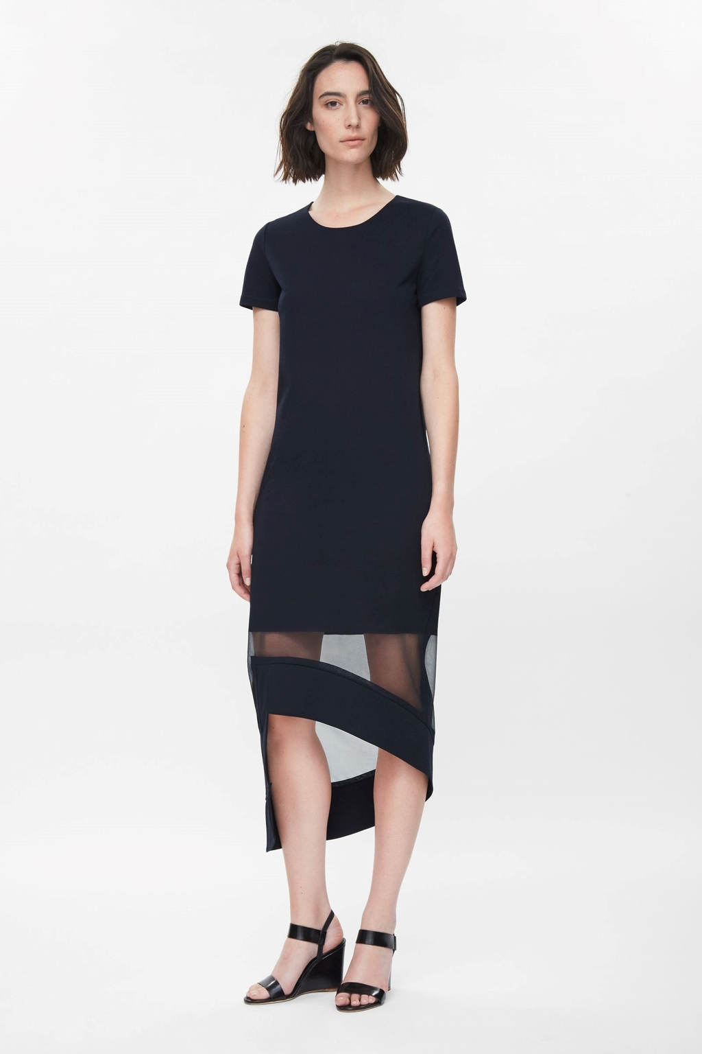 Sheer Hem Dress - length: below the knee; neckline: round neck; pattern: plain; predominant colour: black; occasions: evening, occasion; fit: body skimming; style: asymmetric (hem); fibres: cotton - stretch; sleeve length: short sleeve; sleeve style: standard; pattern type: fabric; texture group: jersey - stretchy/drapey; season: s/s 2015; wardrobe: event; embellishment: contrast fabric; embellishment location: hip