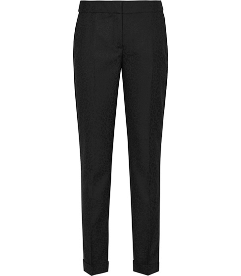 Dravite Leopard Tailored Trousers - length: standard; pattern: plain; pocket detail: pockets at the sides; waist: mid/regular rise; predominant colour: black; occasions: evening, work, creative work; fit: straight leg; pattern type: fabric; texture group: woven light midweight; style: standard; season: a/w 2015; wardrobe: basic