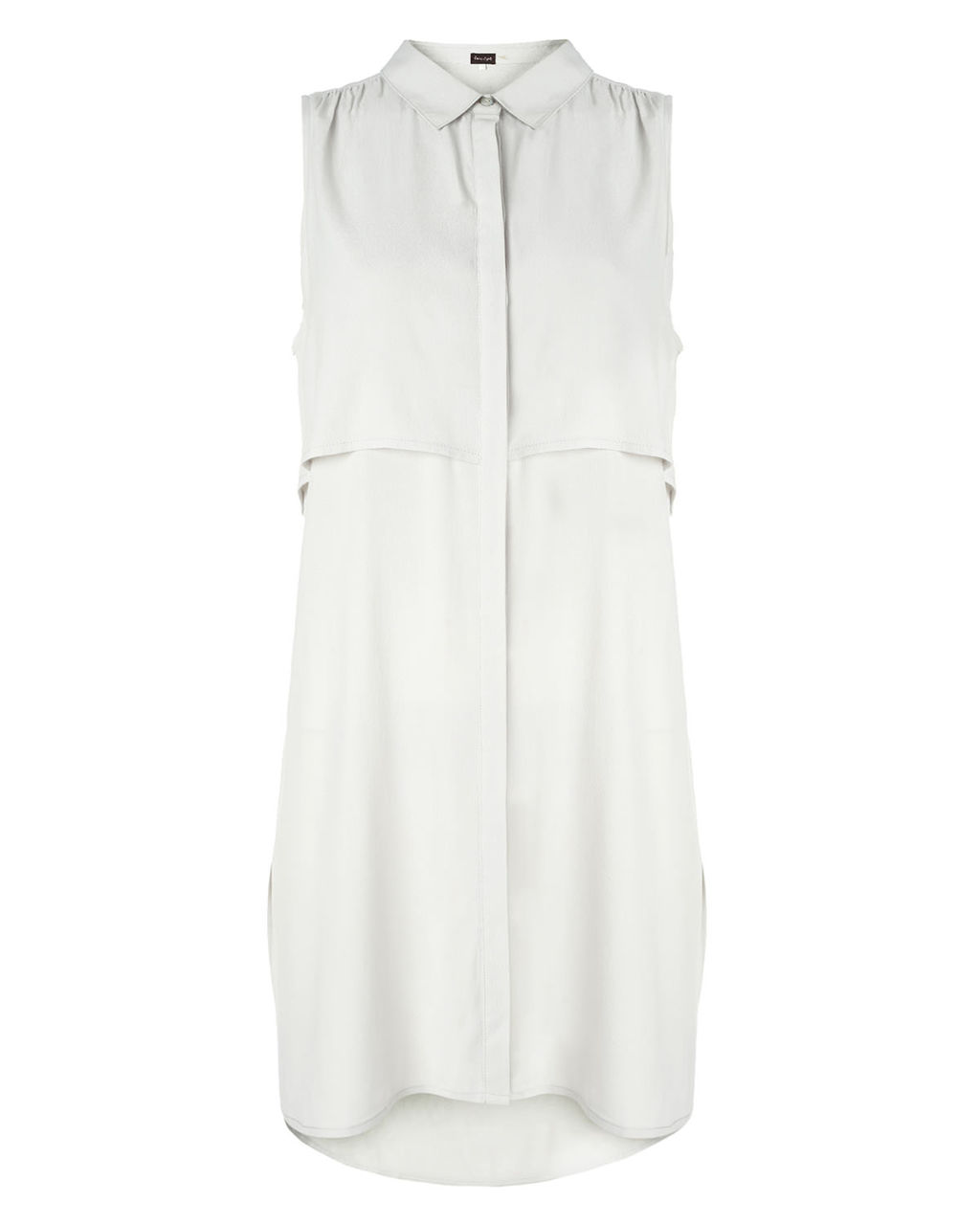 Thomasina Sleeveless Tunic Top - neckline: shirt collar/peter pan/zip with opening; pattern: plain; sleeve style: sleeveless; style: tunic; predominant colour: white; occasions: casual, creative work; fibres: viscose/rayon - 100%; fit: loose; length: mid thigh; sleeve length: sleeveless; pattern type: fabric; texture group: other - light to midweight; season: s/s 2015