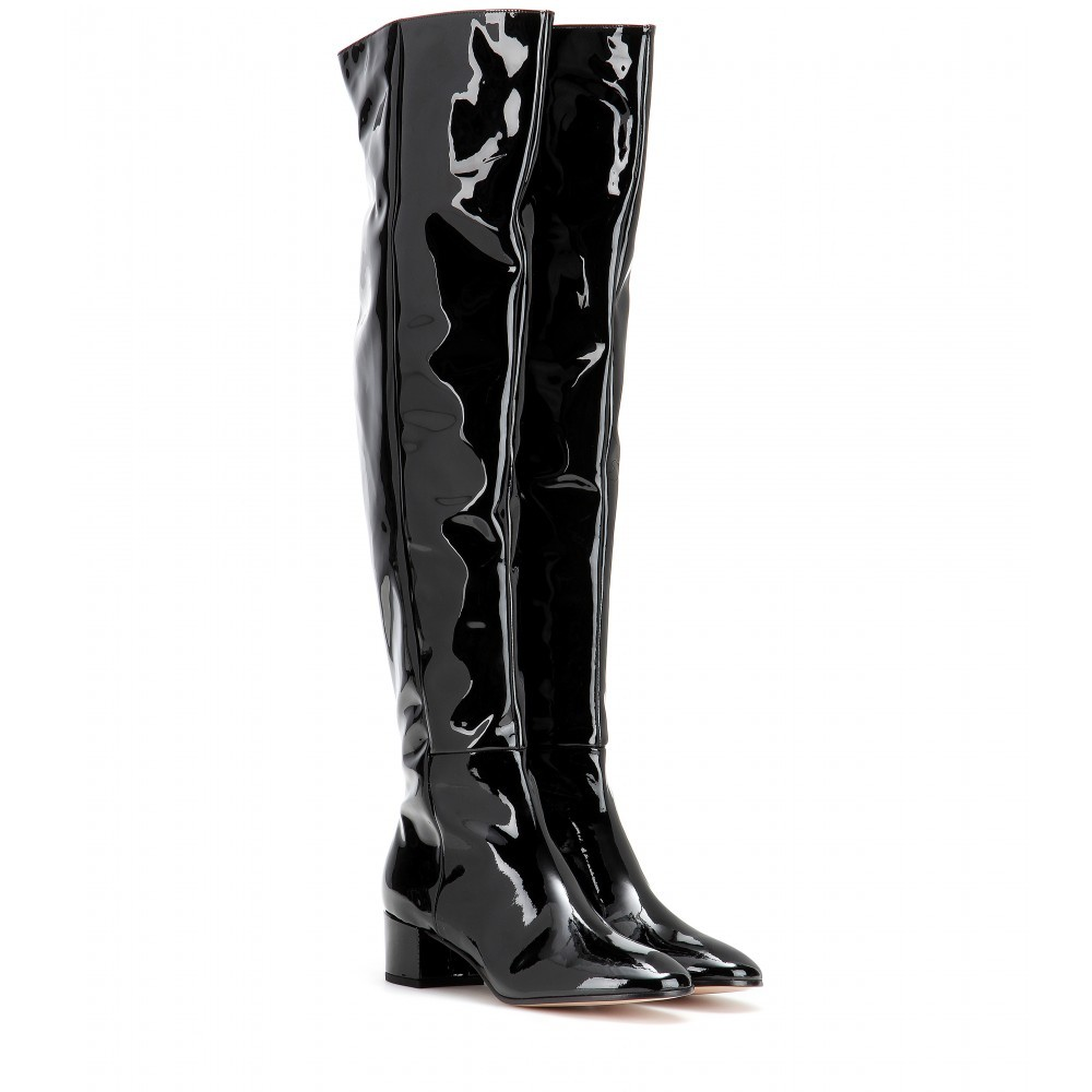 Rolling Over The Knee Patent Leather Boots - predominant colour: black; material: leather; heel height: mid; heel: block; toe: pointed toe; boot length: over the knee; style: riding; finish: plain; pattern: plain; occasions: creative work; season: s/s 2015