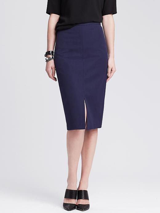 Sloan Fit Vented Pencil Skirt Navy - pattern: plain; style: pencil; fit: tailored/fitted; waist: high rise; predominant colour: navy; occasions: work, creative work; length: on the knee; fibres: cotton - mix; waist detail: feature waist detail; pattern type: fabric; texture group: woven light midweight; season: s/s 2015; wardrobe: basic