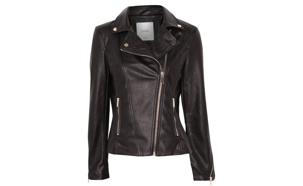 Biker Jacket - pattern: plain; style: biker; collar: asymmetric biker; predominant colour: black; occasions: casual, evening, creative work; length: standard; fit: tailored/fitted; fibres: polyester/polyamide - 100%; sleeve length: long sleeve; sleeve style: standard; texture group: leather; collar break: high/illusion of break when open; pattern type: fabric; season: s/s 2015; wardrobe: basic