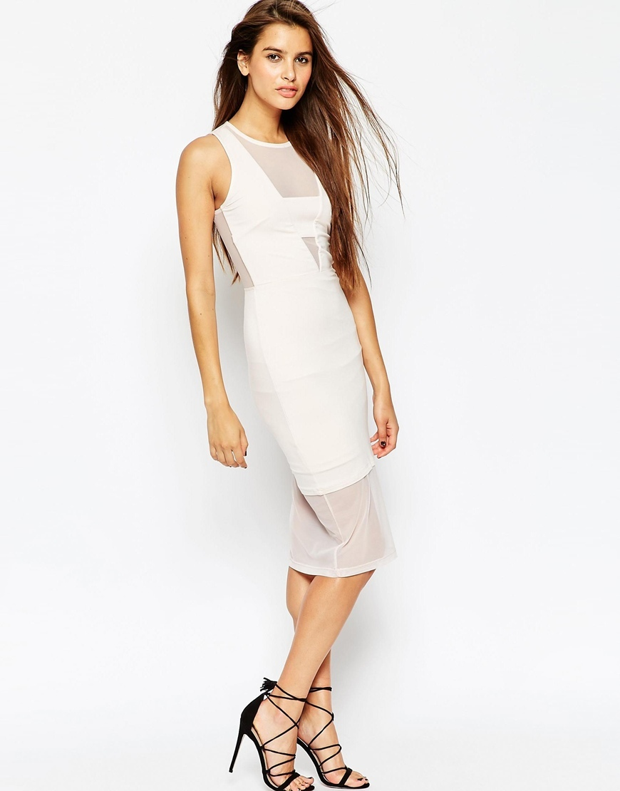Mesh Panel Bodycon Midi Dress Nude - fit: tight; pattern: plain; sleeve style: sleeveless; style: bodycon; predominant colour: white; occasions: evening, occasion; length: on the knee; neckline: crew; sleeve length: sleeveless; texture group: sheer fabrics/chiffon/organza etc.; pattern type: fabric; fibres: nylon - stretch; season: s/s 2015; wardrobe: event