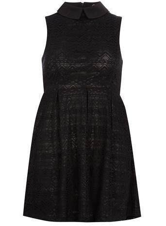 Womens **Mela Mela Black Lace Collared Dress Black - length: mid thigh; pattern: plain; sleeve style: sleeveless; predominant colour: black; occasions: casual, evening, creative work; fit: fitted at waist & bust; style: fit & flare; fibres: cotton - mix; neckline: no opening/shirt collar/peter pan; sleeve length: sleeveless; texture group: cotton feel fabrics; pattern type: fabric; season: s/s 2015; wardrobe: basic