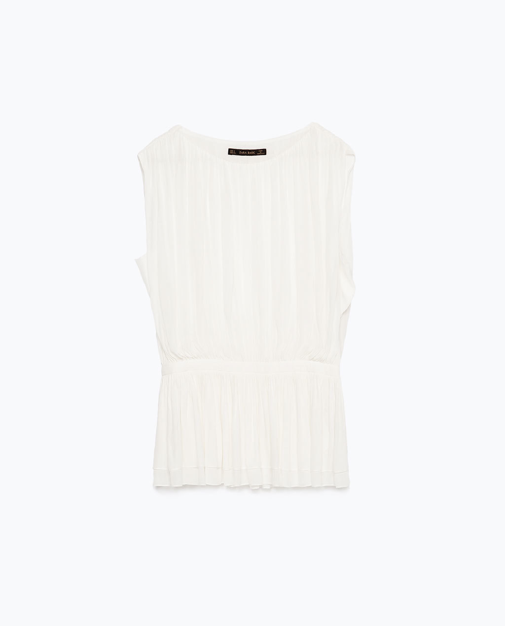 Draped Top - pattern: plain; sleeve style: sleeveless; style: vest top; predominant colour: ivory/cream; occasions: casual, evening; length: standard; fibres: polyester/polyamide - 100%; fit: body skimming; neckline: crew; sleeve length: sleeveless; pattern type: fabric; texture group: other - light to midweight; season: s/s 2015; wardrobe: basic