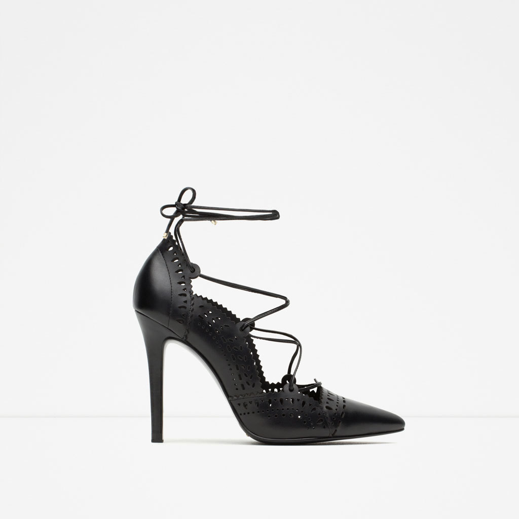 Leather High Heel Shoes With Perforated Detail - predominant colour: black; occasions: evening, creative work; material: leather; heel height: high; ankle detail: ankle tie; heel: stiletto; toe: pointed toe; style: courts; finish: plain; pattern: plain; season: s/s 2015; wardrobe: investment