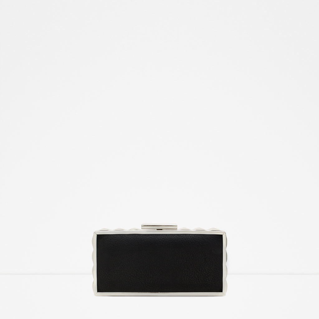 Box Clutch With Metal Detail - secondary colour: silver; predominant colour: black; occasions: evening, occasion; type of pattern: light; style: clutch; length: hand carry; size: small; material: faux leather; pattern: plain; finish: metallic; embellishment: chain/metal; season: s/s 2015