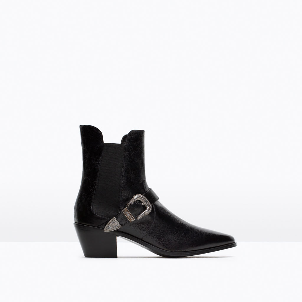 Leather Ankle Boot With Heel And Buckle - predominant colour: black; occasions: casual, creative work; material: leather; heel height: mid; embellishment: buckles; heel: standard; toe: pointed toe; boot length: ankle boot; style: cowboy; finish: plain; pattern: plain; season: a/w 2015; wardrobe: basic