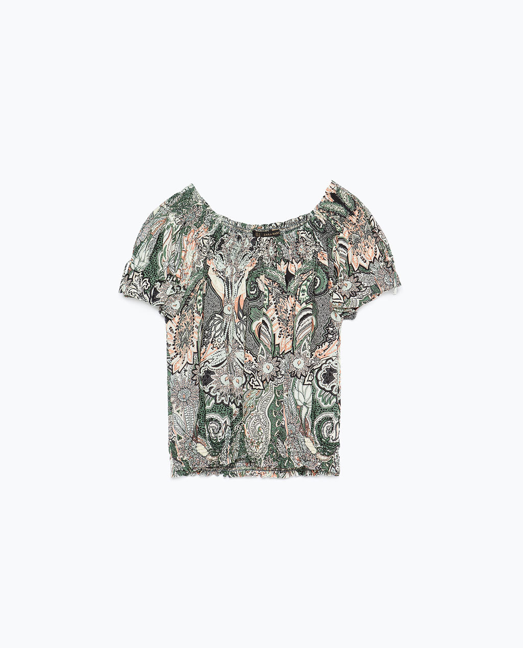 Printed Top - neckline: off the shoulder; secondary colour: white; predominant colour: mid grey; occasions: casual; length: standard; style: top; fibres: viscose/rayon - 100%; fit: loose; sleeve length: short sleeve; sleeve style: standard; pattern type: fabric; pattern: patterned/print; texture group: other - light to midweight; season: s/s 2015; multicoloured: multicoloured; wardrobe: highlight