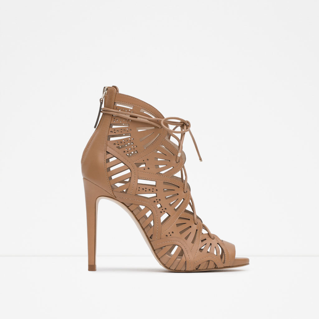 Cage Leather Sandal - predominant colour: camel; occasions: evening, occasion; material: leather; heel height: high; ankle detail: ankle tie; heel: stiletto; style: standard; finish: plain; pattern: plain; toe: caged; season: a/w 2015; wardrobe: event
