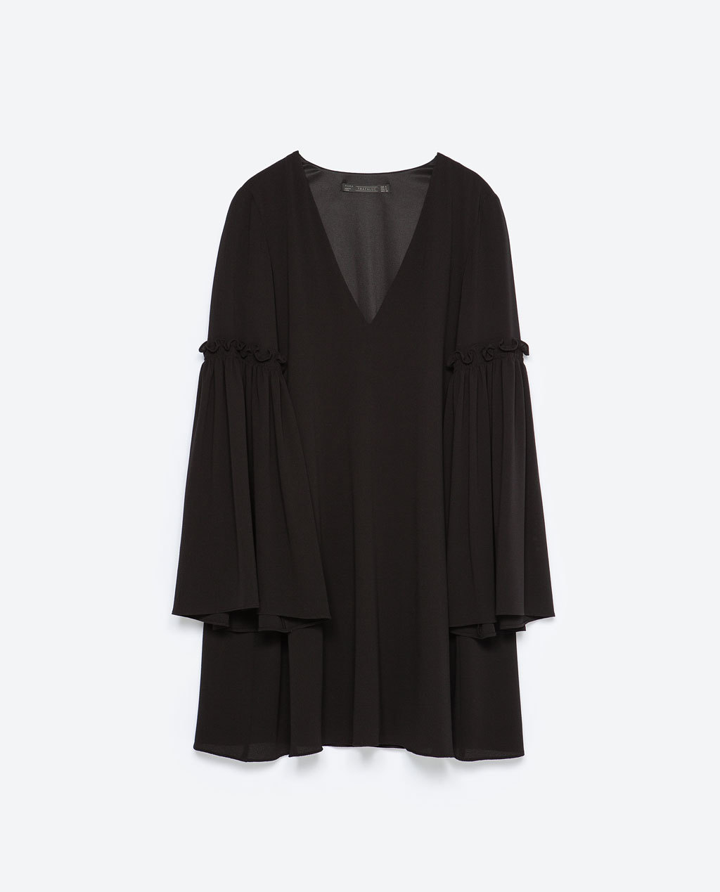 Bell Sleeve Dress - style: tunic; length: mid thigh; neckline: low v-neck; sleeve style: bell sleeve; fit: loose; pattern: plain; predominant colour: black; occasions: casual, evening, occasion; sleeve length: long sleeve; pattern type: fabric; texture group: other - light to midweight; season: s/s 2015; wardrobe: basic
