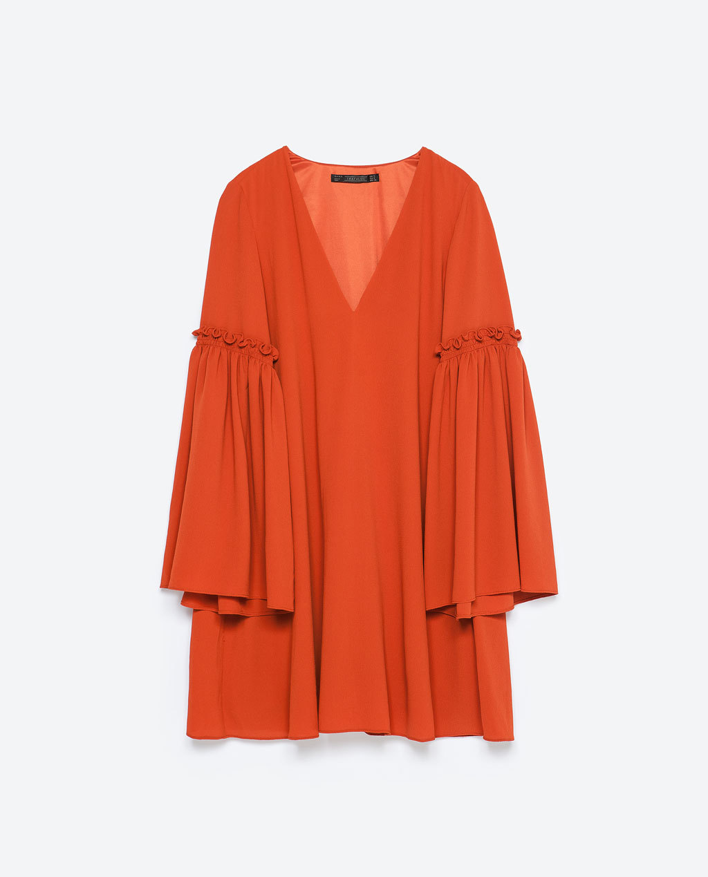 Bell Sleeve Dress - style: tunic; length: mid thigh; neckline: low v-neck; sleeve style: bell sleeve; fit: loose; pattern: plain; predominant colour: bright orange; occasions: casual, evening; sleeve length: long sleeve; pattern type: fabric; texture group: other - light to midweight; season: s/s 2015; wardrobe: highlight