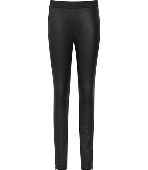 Carrie Leather Leggings - length: standard; pattern: plain; waist: mid/regular rise; predominant colour: black; occasions: casual, evening, creative work; fibres: leather - 100%; waist detail: feature waist detail; texture group: leather; fit: skinny/tight leg; pattern type: fabric; style: standard; season: s/s 2015; wardrobe: highlight