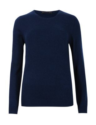 Pure Cashmere Jumper - pattern: plain; style: standard; predominant colour: navy; occasions: casual, creative work; length: standard; fit: slim fit; neckline: crew; fibres: cashmere - 100%; sleeve length: long sleeve; sleeve style: standard; texture group: knits/crochet; pattern type: knitted - fine stitch; season: s/s 2015; trends: brilliant basics