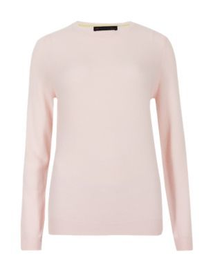 Pure Cashmere Round Neck Jumper - pattern: plain; style: standard; predominant colour: blush; occasions: casual, creative work; length: standard; fit: slim fit; neckline: crew; fibres: cashmere - 100%; sleeve length: long sleeve; sleeve style: standard; texture group: knits/crochet; pattern type: knitted - fine stitch; season: s/s 2015; wardrobe: investment
