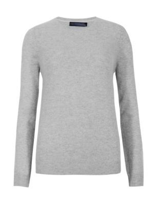 Pure Cashmere Round Neck Jumper - pattern: plain; style: standard; predominant colour: light grey; occasions: casual; length: standard; fit: slim fit; neckline: crew; fibres: cashmere - 100%; sleeve length: long sleeve; sleeve style: standard; texture group: knits/crochet; pattern type: knitted - fine stitch; season: s/s 2015; trends: brilliant basics; wardrobe: investment