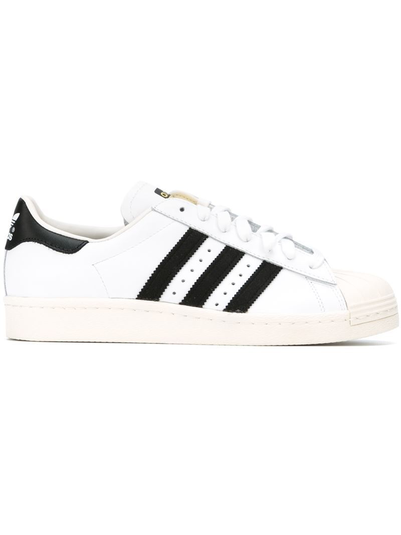 'superstar 80's' Sneakers, Adult Unisex, White - predominant colour: white; secondary colour: black; occasions: casual, activity; material: leather; heel height: flat; toe: round toe; style: trainers; trends: monochrome; finish: plain; pattern: striped; shoe detail: moulded soul; season: s/s 2015