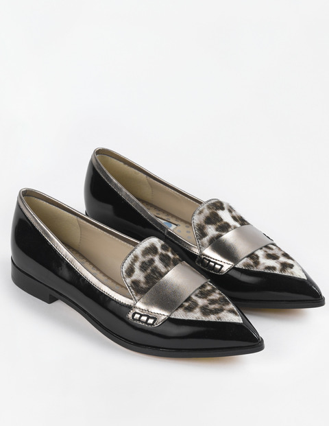 Pointed Loafer Black/Pewter/Snow Leopard Women, Black/Pewter/Snow Leopard - predominant colour: black; occasions: casual, creative work; material: leather; heel height: flat; toe: pointed toe; style: loafers; finish: plain; pattern: animal print; secondary colour: pewter; season: s/s 2015; multicoloured: multicoloured
