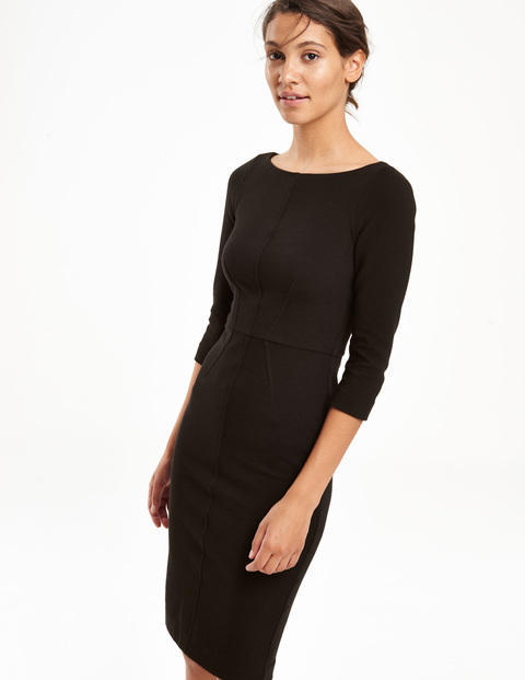 Aurelia Ottoman Work Dress Black Women, Black - style: shift; neckline: round neck; pattern: plain; predominant colour: black; occasions: evening, work; length: on the knee; fit: body skimming; fibres: cotton - stretch; sleeve length: 3/4 length; sleeve style: standard; pattern type: fabric; texture group: other - light to midweight; season: s/s 2015; wardrobe: investment