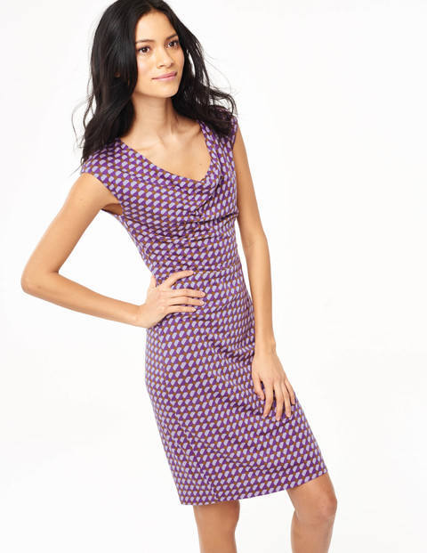 Cowl Neck Dress Purple Tile Women, Purple Tile - style: shift; neckline: cowl/draped neck; sleeve style: sleeveless; predominant colour: purple; occasions: casual, occasion, creative work; length: just above the knee; fit: body skimming; fibres: cotton - mix; sleeve length: sleeveless; pattern type: fabric; pattern size: big & busy; pattern: patterned/print; texture group: jersey - stretchy/drapey; season: s/s 2015; trends: crazy prints