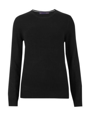 Pure Cashmere Jumper - pattern: plain; style: standard; predominant colour: black; occasions: casual, creative work; length: standard; fit: slim fit; neckline: crew; fibres: cashmere - 100%; sleeve length: long sleeve; sleeve style: standard; texture group: knits/crochet; pattern type: knitted - fine stitch; season: s/s 2015; trends: brilliant basics