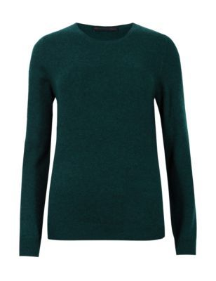 Pure Cashmere Round Neck Jumper - pattern: plain; style: standard; predominant colour: dark green; occasions: casual, creative work; length: standard; fit: slim fit; neckline: crew; fibres: cashmere - 100%; sleeve length: long sleeve; sleeve style: standard; texture group: knits/crochet; pattern type: knitted - fine stitch; season: s/s 2015; wardrobe: highlight