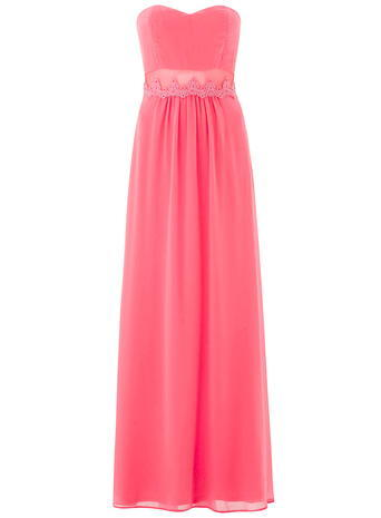 Womens **Elise Ryan Bandeau Dress Coral - neckline: strapless (straight/sweetheart); pattern: plain; style: maxi dress; sleeve style: strapless; length: ankle length; predominant colour: pink; occasions: evening, occasion; fit: fitted at waist & bust; fibres: polyester/polyamide - stretch; hip detail: subtle/flattering hip detail; sleeve length: sleeveless; texture group: sheer fabrics/chiffon/organza etc.; pattern type: fabric; embellishment: lace; season: a/w 2015; wardrobe: event; embellishment location: waist