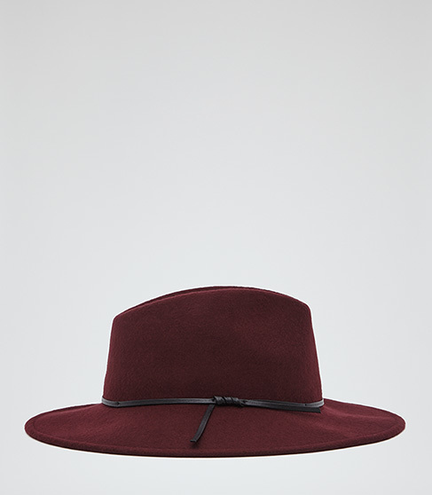 Ava Felt Fedora - predominant colour: burgundy; secondary colour: black; occasions: casual; style: fedora; size: standard; material: felt; pattern: plain; season: a/w 2015; wardrobe: highlight