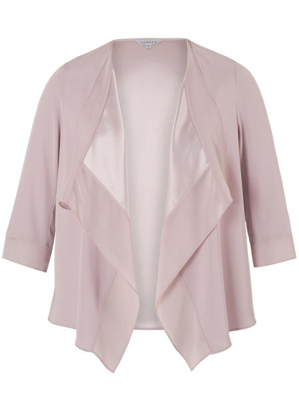 Powder Pink Satin Back Crepe Jacket - pattern: plain; collar: shawl/waterfall; fit: loose; occasions: casual, occasion, creative work; length: standard; fibres: polyester/polyamide - mix; sleeve length: 3/4 length; sleeve style: standard; texture group: crepes; collar break: low/open; pattern type: fabric; predominant colour: dusky pink; style: fluid/kimono; season: a/w 2015