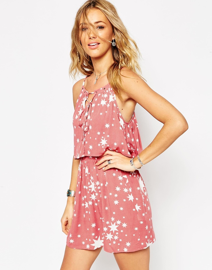 Sundress With Tie Front And Double Layer In Star Print Star Print - length: mid thigh; sleeve style: sleeveless; secondary colour: white; predominant colour: pink; occasions: casual, holiday; fit: soft a-line; style: slip dress; neckline: scoop; fibres: viscose/rayon - 100%; back detail: crossover; sleeve length: sleeveless; pattern type: fabric; pattern size: big & busy; pattern: patterned/print; texture group: woven light midweight; season: a/w 2015; wardrobe: highlight