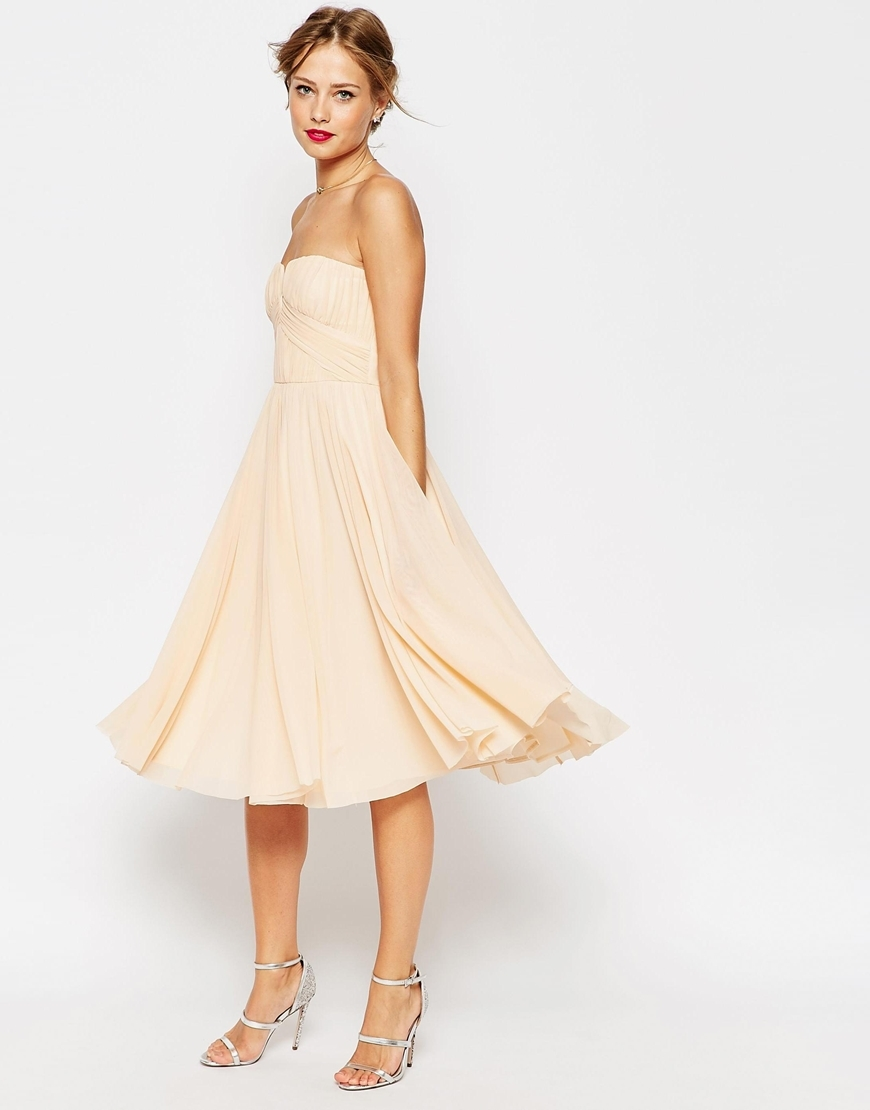 Wedding Ruched Bodice Bandeau Midi Dress Nude - length: below the knee; neckline: strapless (straight/sweetheart); pattern: plain; sleeve style: strapless; predominant colour: nude; fit: fitted at waist & bust; style: fit & flare; fibres: viscose/rayon - stretch; occasions: occasion; sleeve length: sleeveless; texture group: sheer fabrics/chiffon/organza etc.; pattern type: fabric; season: a/w 2015; wardrobe: event