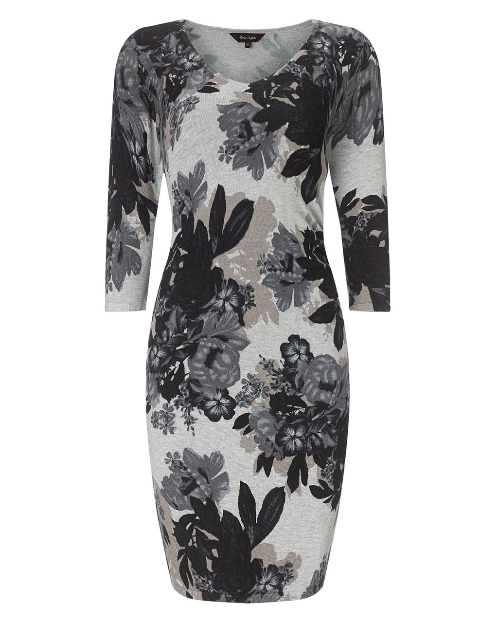 Horley Rose Print Dress - neckline: round neck; fit: tight; style: bodycon; predominant colour: charcoal; secondary colour: light grey; occasions: casual; length: just above the knee; fibres: nylon - mix; sleeve length: 3/4 length; sleeve style: standard; texture group: knits/crochet; pattern type: knitted - fine stitch; pattern size: big & busy; pattern: florals; season: a/w 2015