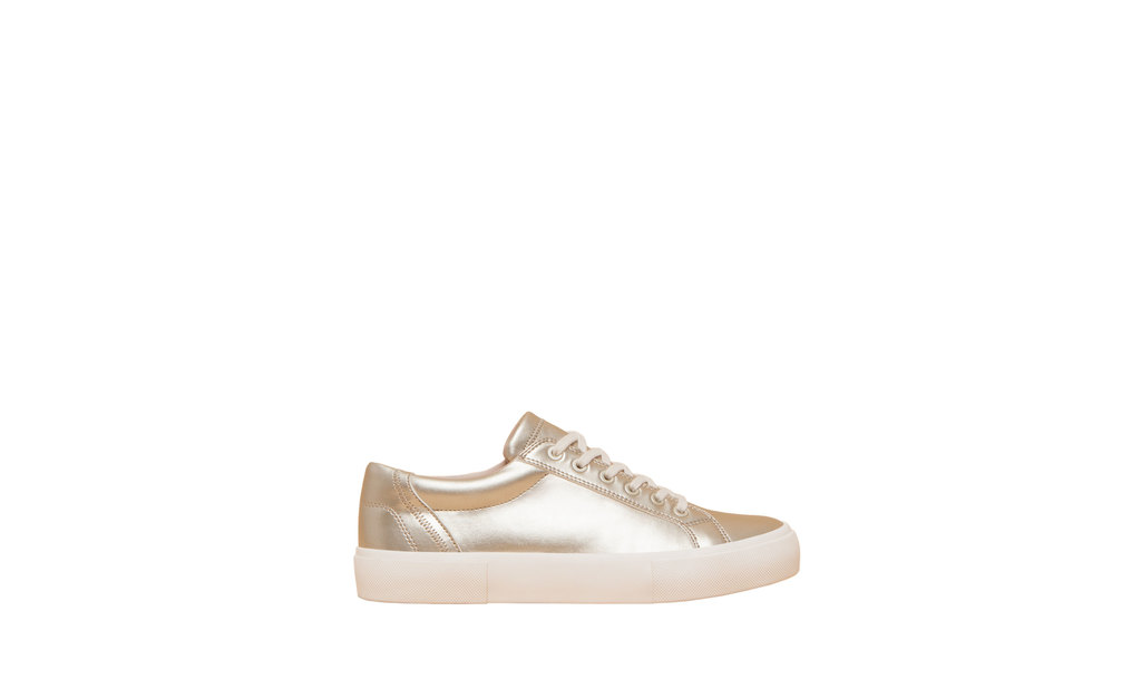 Fashion Plimsolls - predominant colour: gold; occasions: casual; material: faux leather; heel height: flat; toe: round toe; style: trainers; finish: plain; pattern: plain; shoe detail: moulded soul; season: a/w 2015; wardrobe: highlight