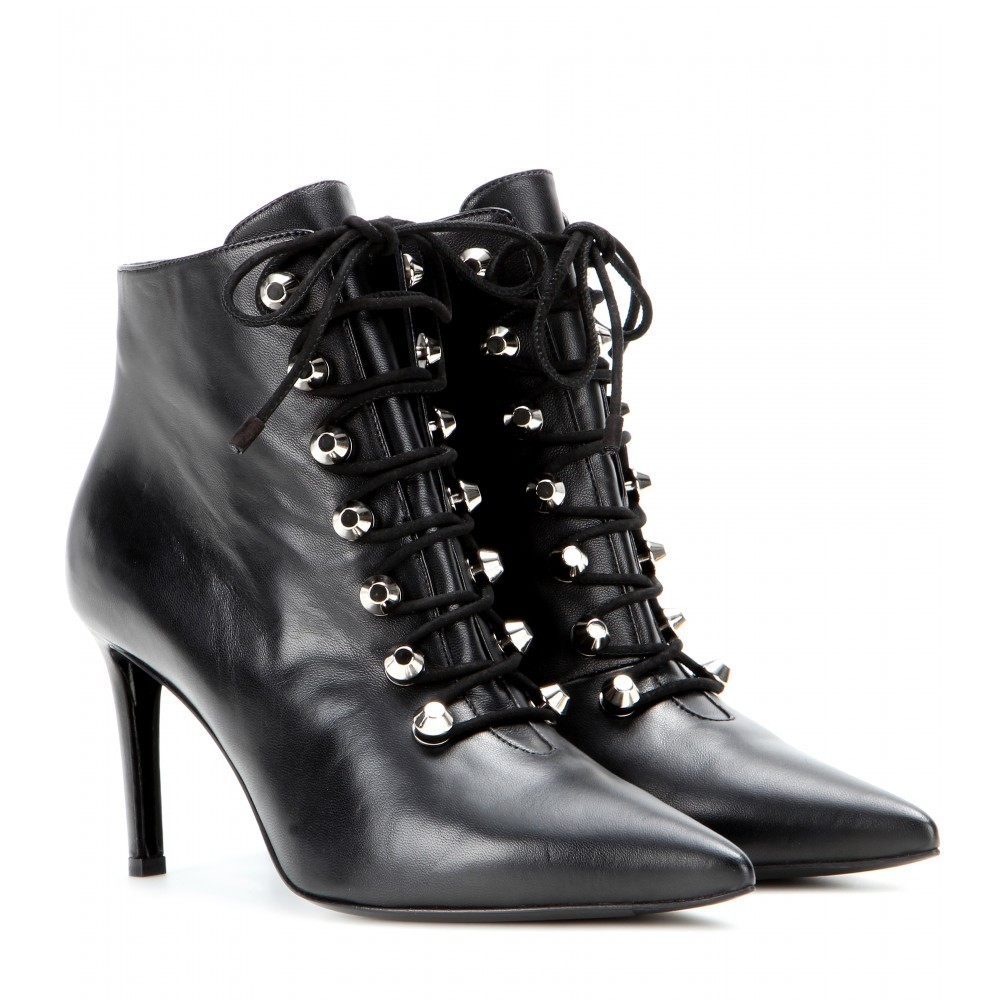 Leather Ankle Boots - predominant colour: black; occasions: casual, creative work; material: leather; heel height: high; heel: stiletto; toe: pointed toe; boot length: ankle boot; style: standard; finish: plain; pattern: plain; season: a/w 2015; wardrobe: highlight