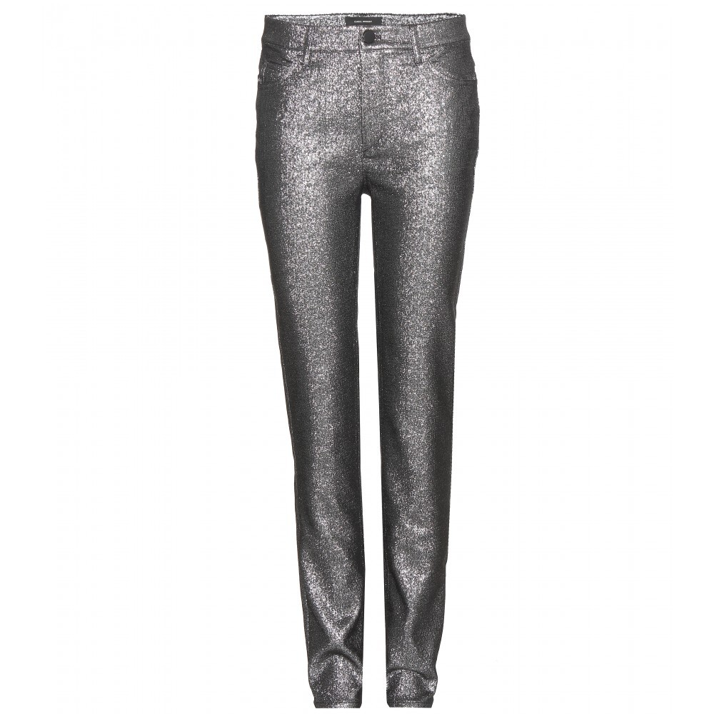Leta Metallic Cotton Blend Trousers - length: standard; pocket detail: traditional 5 pocket; waist: mid/regular rise; predominant colour: silver; occasions: evening; fibres: cotton - mix; waist detail: feature waist detail; fit: slim leg; pattern type: fabric; pattern: patterned/print; texture group: other - light to midweight; style: standard; season: a/w 2015; wardrobe: event