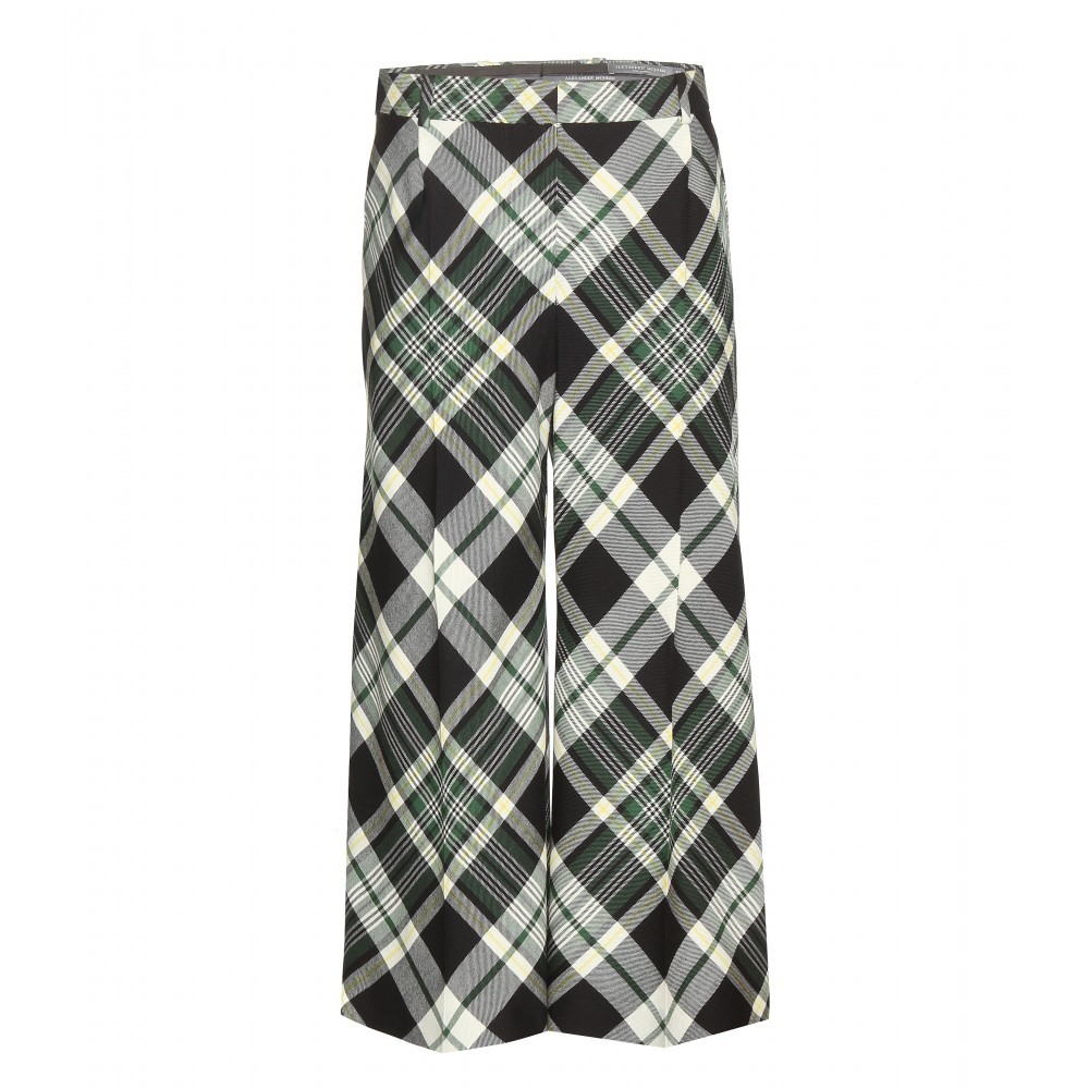 Cropped Tartan Wool Trousers - pattern: checked/gingham; hip detail: front pockets at hip; waist: mid/regular rise; predominant colour: mid grey; length: calf length; fit: wide leg; texture group: woven light midweight; style: standard; season: a/w 2015; trends: plaid and simple