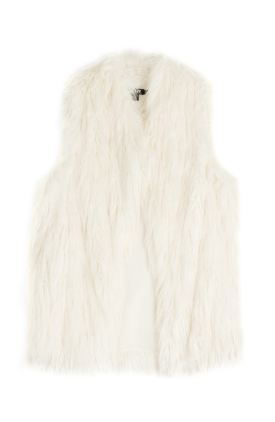 Faux Fur Vest - pattern: plain; sleeve style: sleeveless; style: gilet; collar: round collar/collarless; predominant colour: ivory/cream; length: standard; fit: straight cut (boxy); fibres: acrylic - 100%; sleeve length: sleeveless; texture group: fur; collar break: medium; season: a/w 2015; trends: folky 70s, warm and fuzzy; wardrobe: highlight