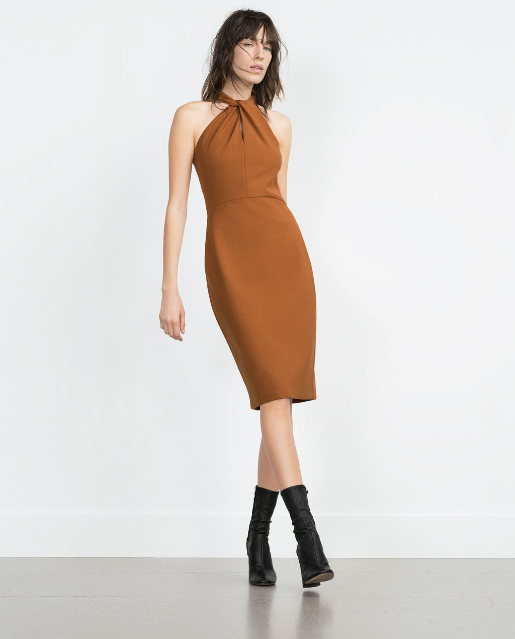 Long Shift Dress - style: shift; length: below the knee; fit: tailored/fitted; pattern: plain; sleeve style: sleeveless; neckline: low halter neck; predominant colour: tan; occasions: evening, occasion; fibres: polyester/polyamide - 100%; sleeve length: sleeveless; pattern type: fabric; texture group: jersey - stretchy/drapey; season: a/w 2015; wardrobe: event