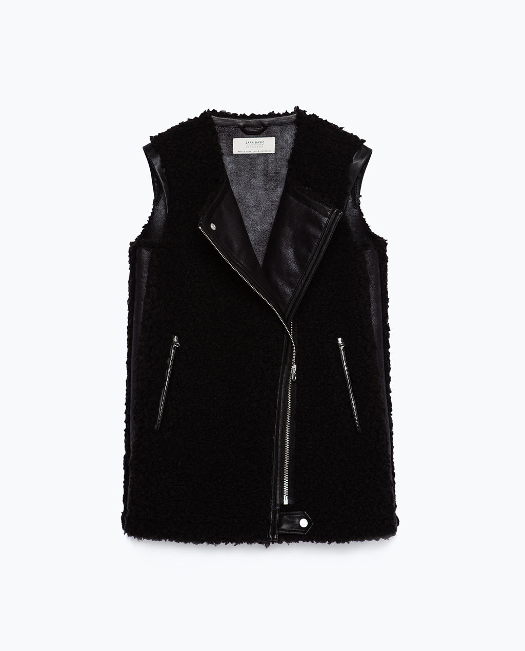 Biker Waistcoat - pattern: plain; sleeve style: sleeveless; collar: asymmetric biker; predominant colour: black; occasions: casual, creative work; length: standard; fit: straight cut (boxy); fibres: polyester/polyamide - 100%; style: waistcoat; sleeve length: sleeveless; texture group: fur; collar break: medium; pattern type: fabric; season: a/w 2015; wardrobe: highlight