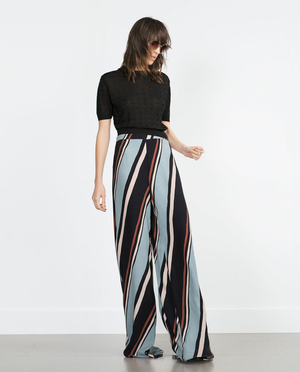 Striped Trousers - length: standard; pattern: vertical stripes; style: palazzo; waist: high rise; predominant colour: pale blue; occasions: casual; fit: wide leg; texture group: other - light to midweight; season: a/w 2015; trends: crazy prints; wardrobe: highlight
