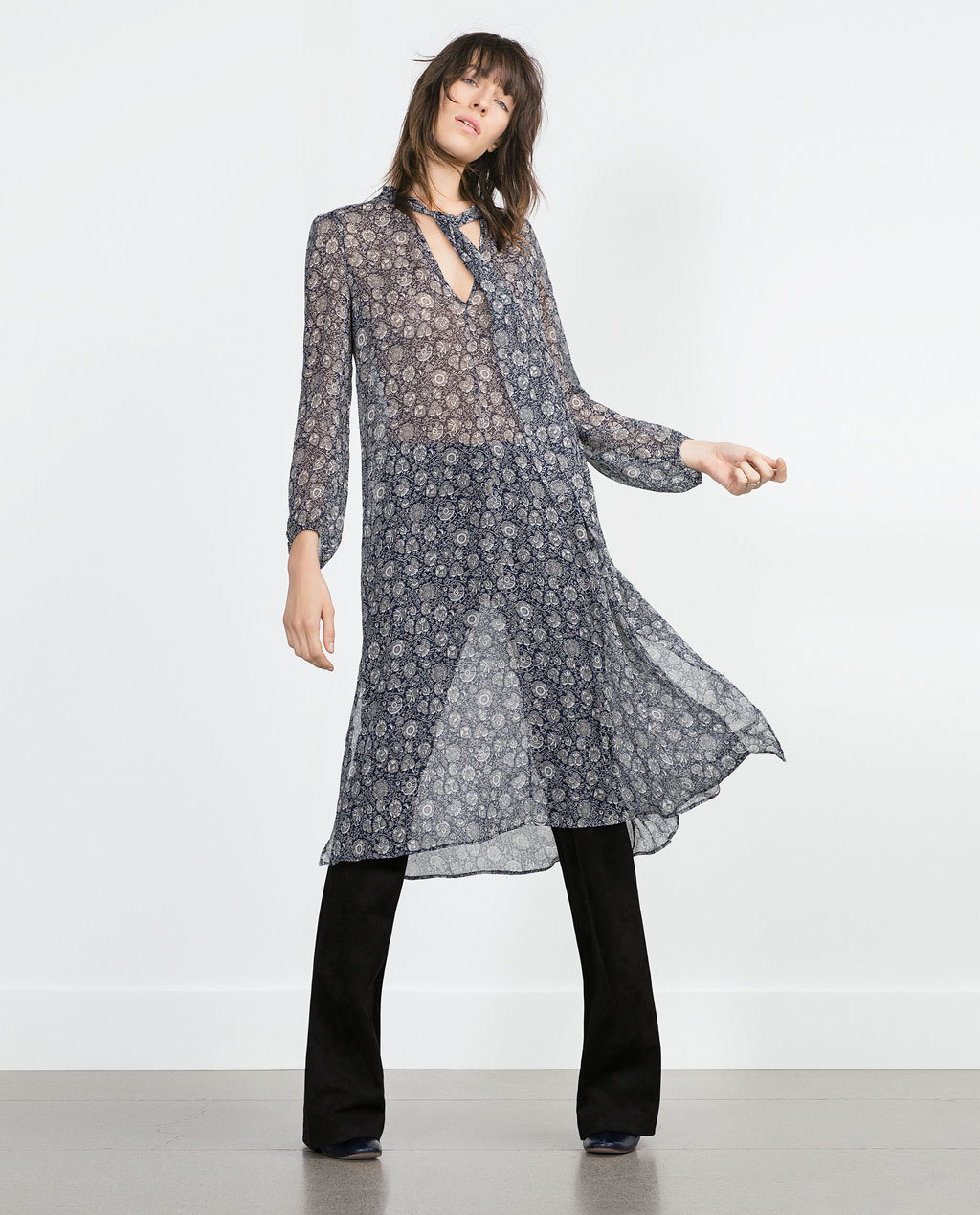 Long Tunic - style: tunic; length: below the knee; neckline: low v-neck; sleeve style: bell sleeve; fit: loose; predominant colour: light grey; occasions: casual; sleeve length: long sleeve; texture group: sheer fabrics/chiffon/organza etc.; pattern: patterned/print; season: a/w 2015; trends: folky 70s; wardrobe: highlight