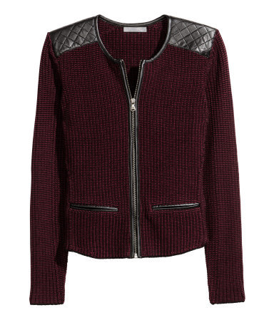 Knitted Cardigan - neckline: round neck; pattern: plain; shoulder detail: contrast pattern/fabric at shoulder; predominant colour: burgundy; secondary colour: black; occasions: casual, creative work; length: standard; style: standard; fibres: cotton - 100%; fit: slim fit; sleeve length: long sleeve; sleeve style: standard; texture group: knits/crochet; pattern type: fabric; embellishment: quilted; season: a/w 2015; wardrobe: highlight