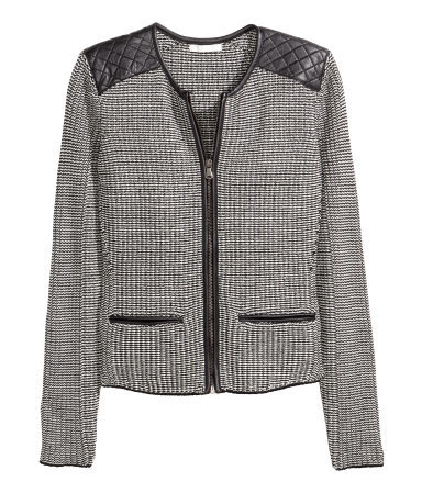 Knitted Cardigan - neckline: round neck; predominant colour: mid grey; secondary colour: black; occasions: casual, creative work; length: standard; style: standard; fibres: cotton - 100%; fit: standard fit; sleeve length: long sleeve; sleeve style: standard; texture group: knits/crochet; pattern type: knitted - other; pattern size: light/subtle; pattern: colourblock; embellishment: quilted; season: a/w 2015; wardrobe: highlight