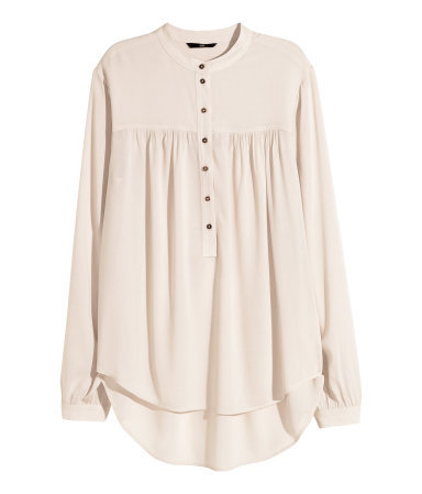 Wide Blouse - pattern: plain; style: blouse; predominant colour: stone; occasions: casual, evening, creative work; length: standard; neckline: collarstand & mandarin with v-neck; fibres: viscose/rayon - 100%; fit: loose; back detail: longer hem at back than at front; sleeve length: long sleeve; sleeve style: standard; texture group: crepes; pattern type: fabric; season: a/w 2015; trends: folky 70s; wardrobe: basic